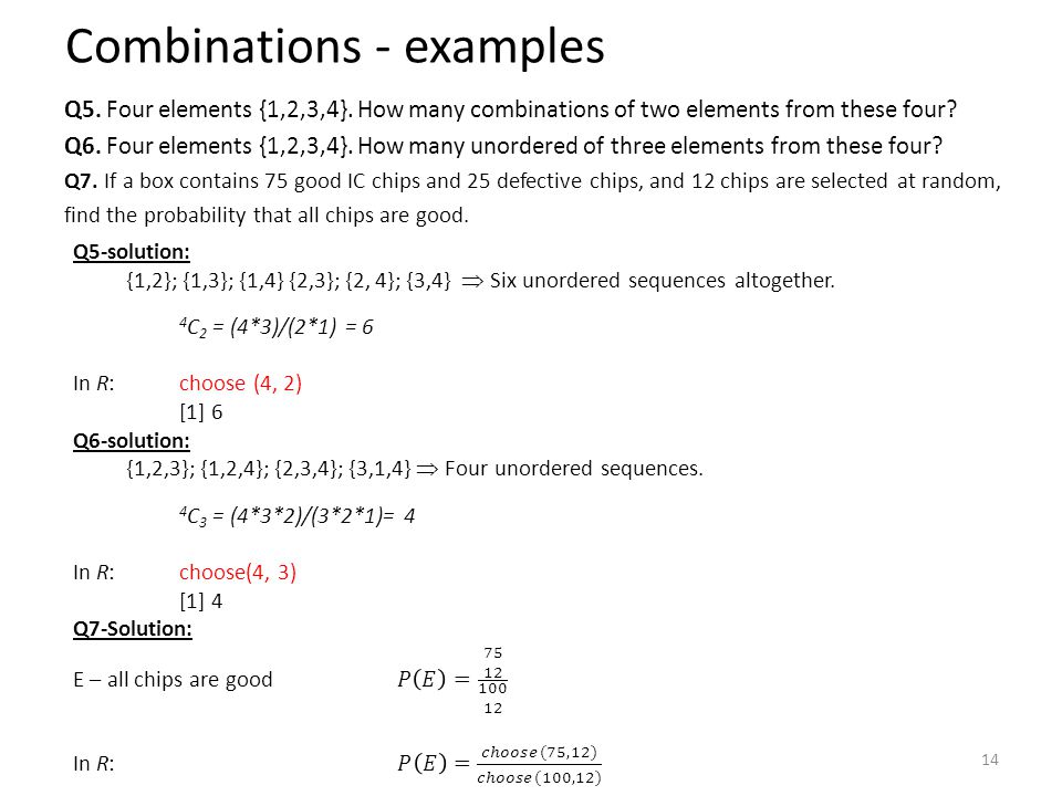 Combinations - examples