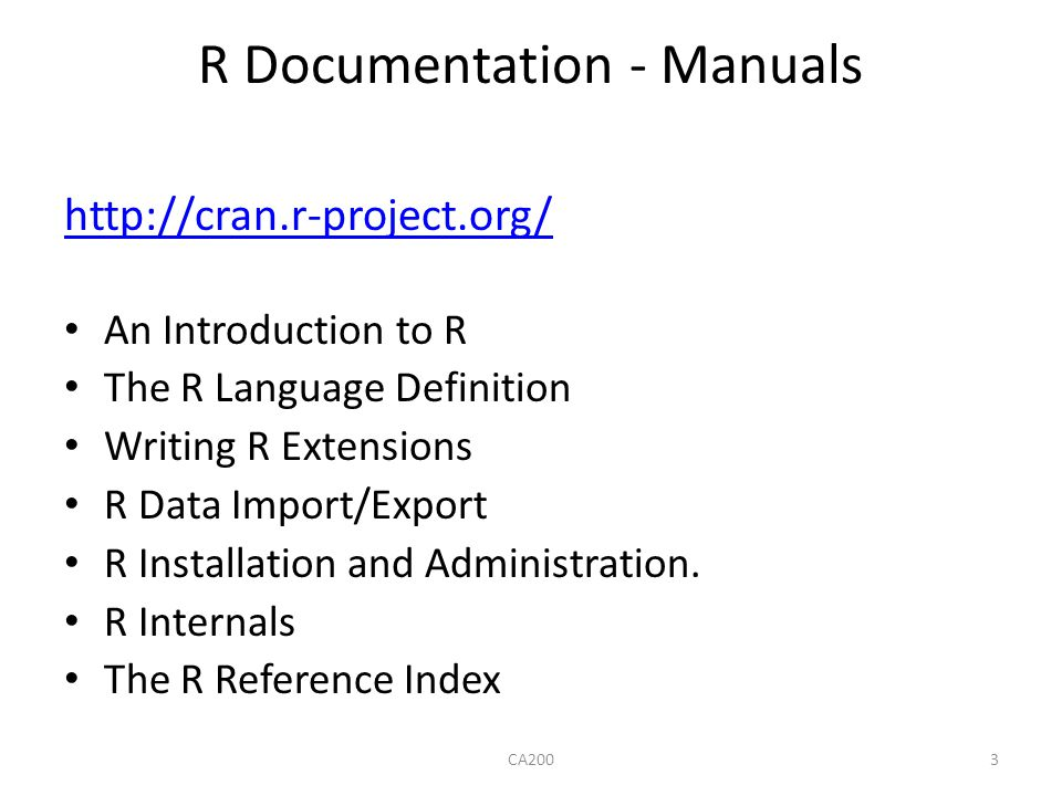 R Documentation - Manuals
