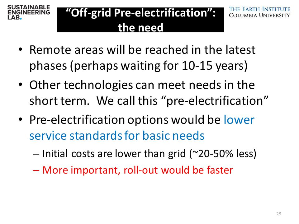 Off-grid Pre-electrification : the need