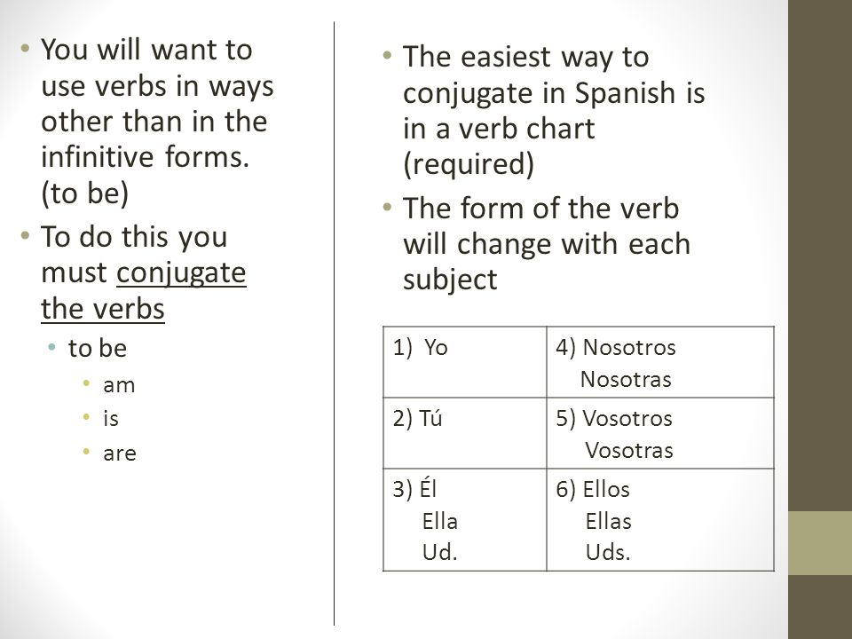 To do this you must conjugate the verbs