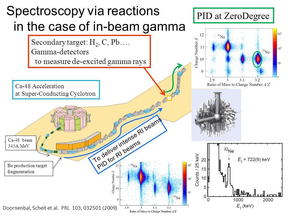 Spectroscopy via reactions in the case of in-beam gamma
