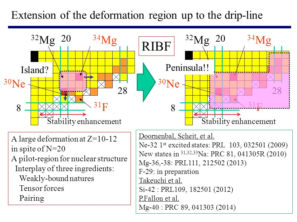 RIBF Extension of the deformation region up to the drip-line 32Mg 34Mg