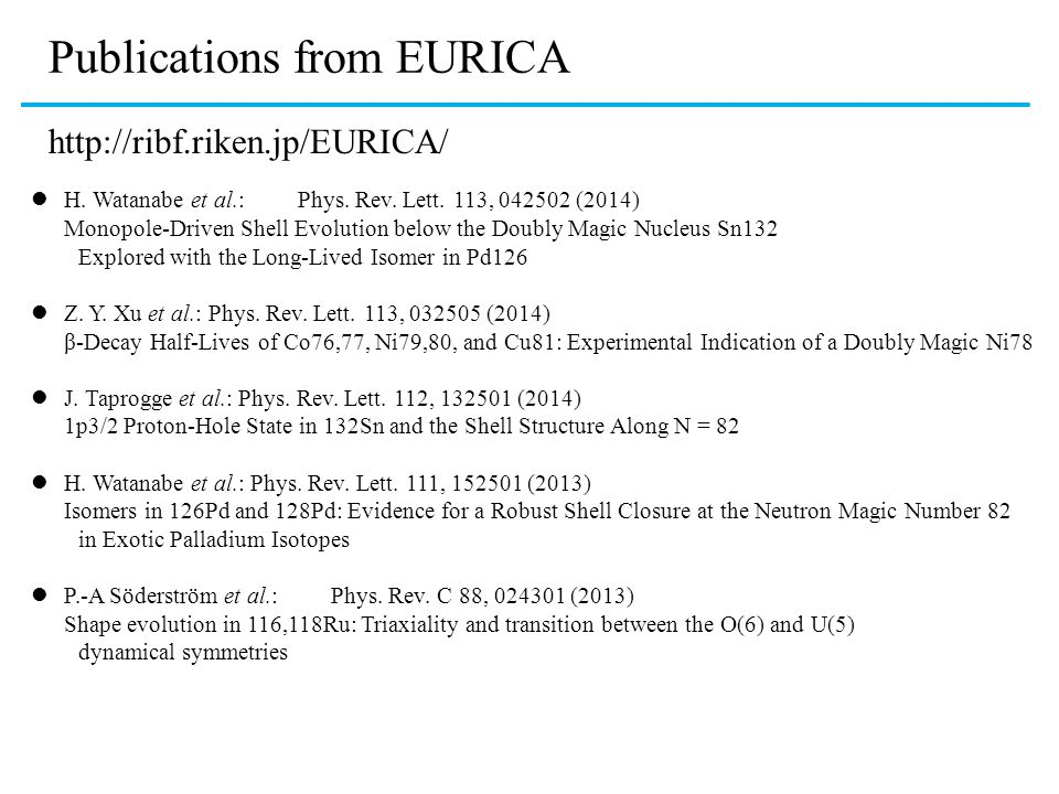 Publications from EURICA