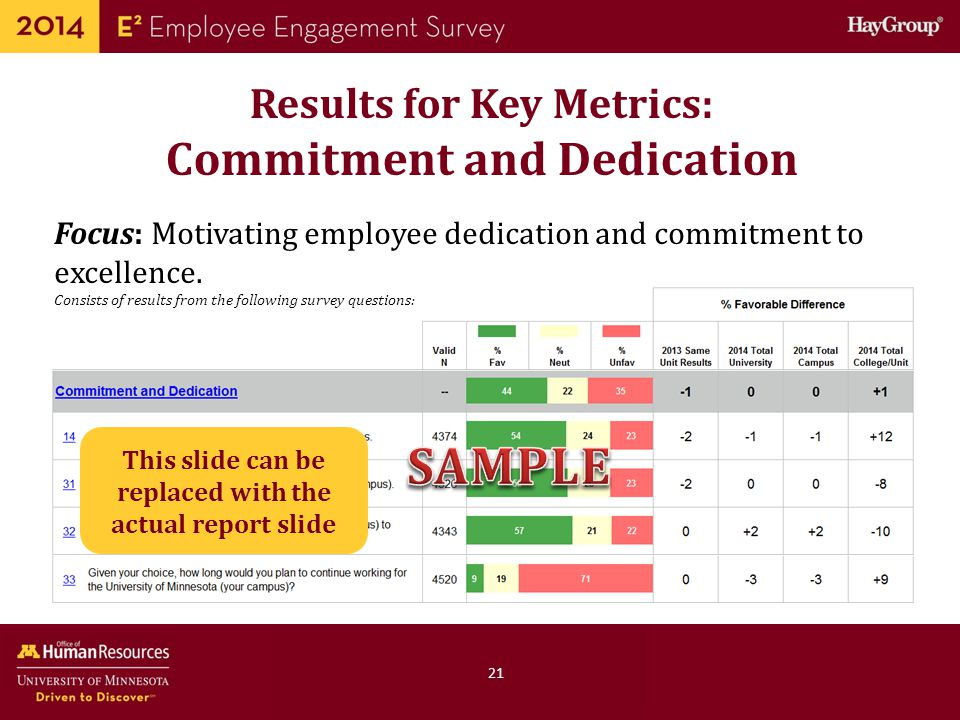 SAMPLE Results for Key Metrics: Commitment and Dedication