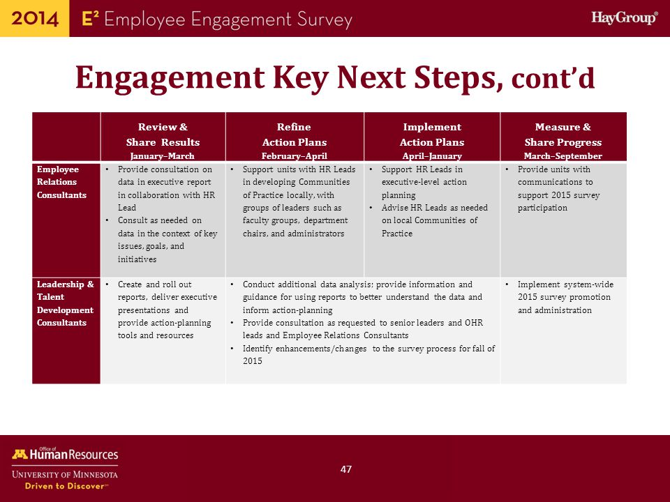Engagement Key Next Steps, cont'd