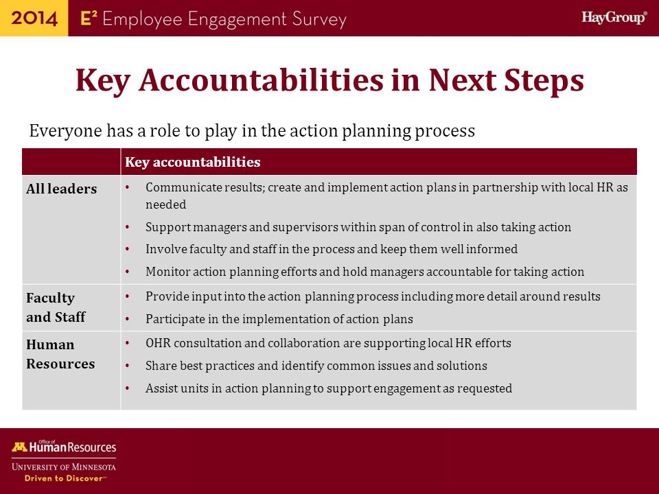 Key Accountabilities in Next Steps