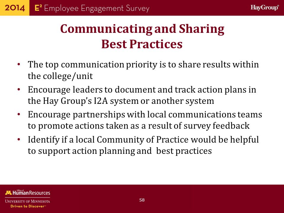Communicating and Sharing Best Practices
