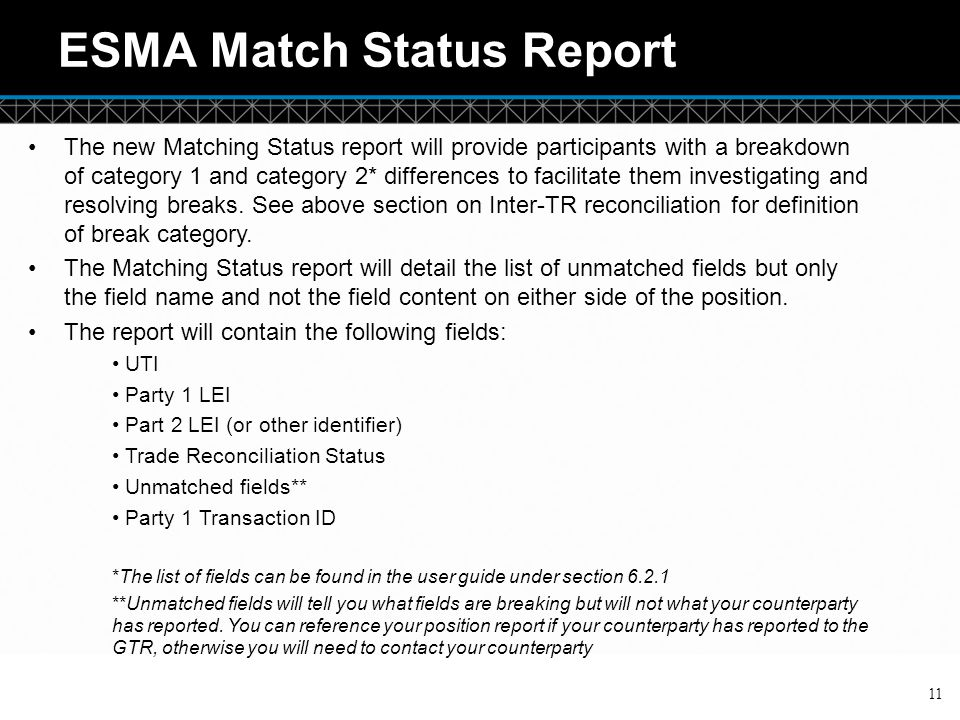 ESMA Match Status Report