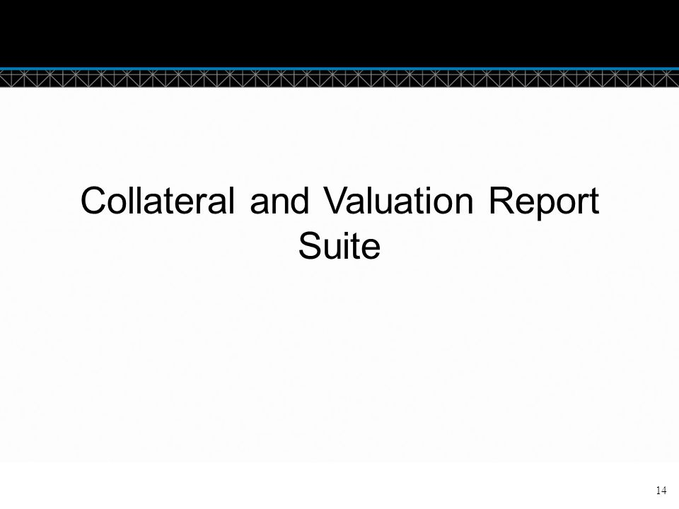 Collateral and Valuation Report Suite