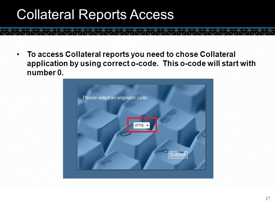 Collateral Reports Access