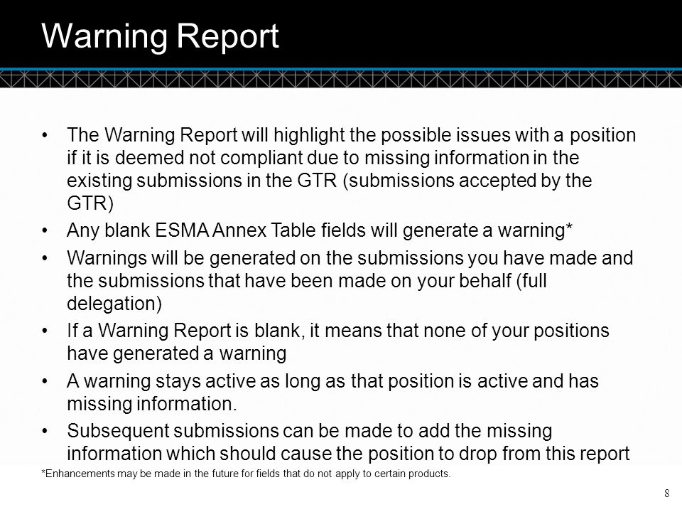 Warning Report