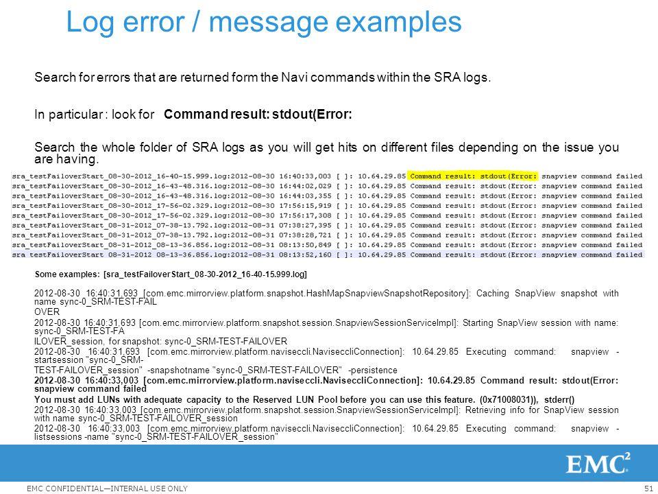 Log error / message examples