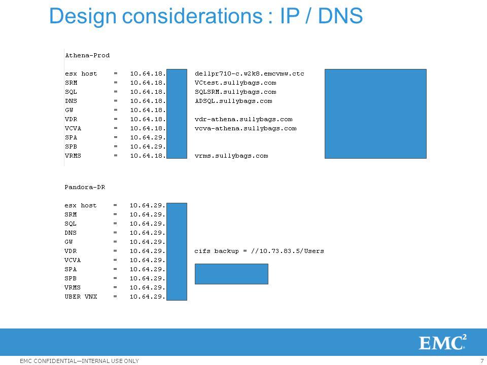 Design considerations : IP / DNS