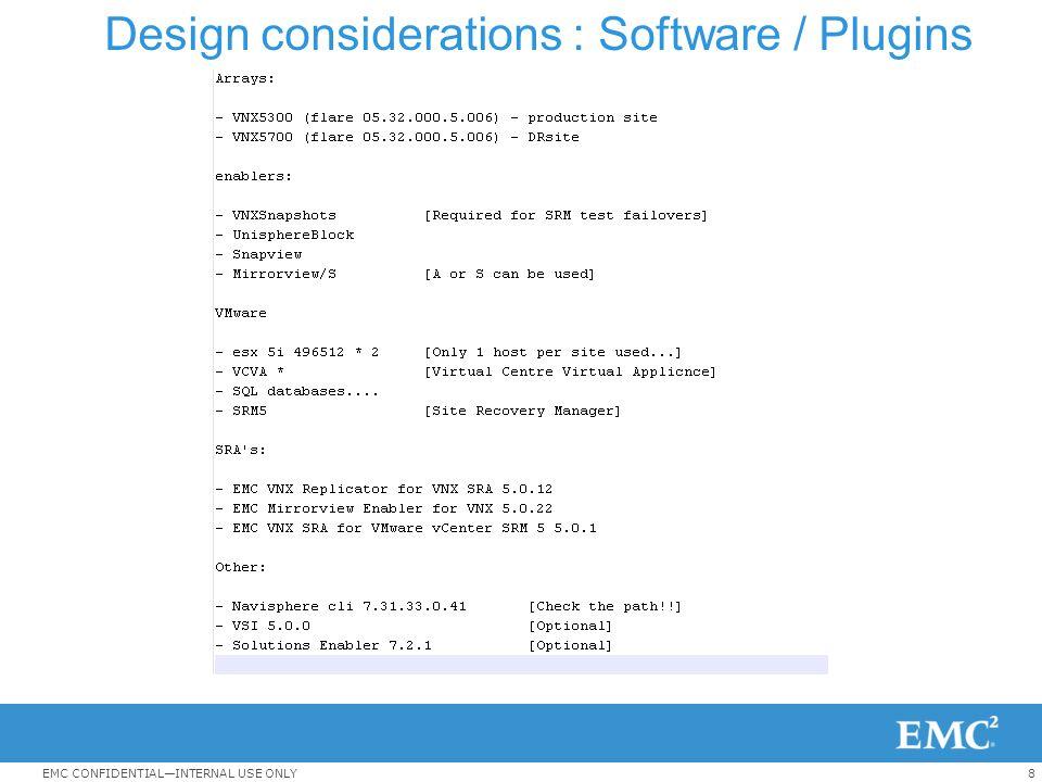 Design considerations : Software / Plugins