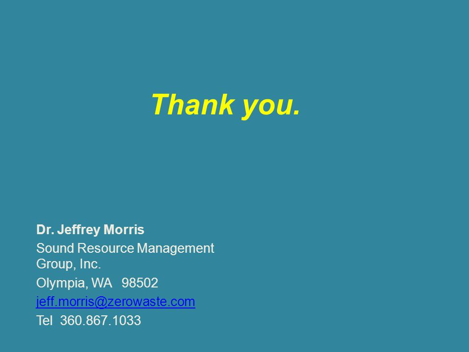 Thank you. Dr. Jeffrey Morris Sound Resource Management Group, Inc.