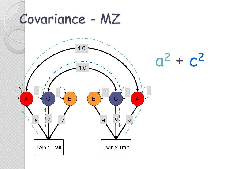 a2 + c2 Covariance - MZ 1.0 1.0 1 1 1 1 1 1 A C E E C A c e c a e a