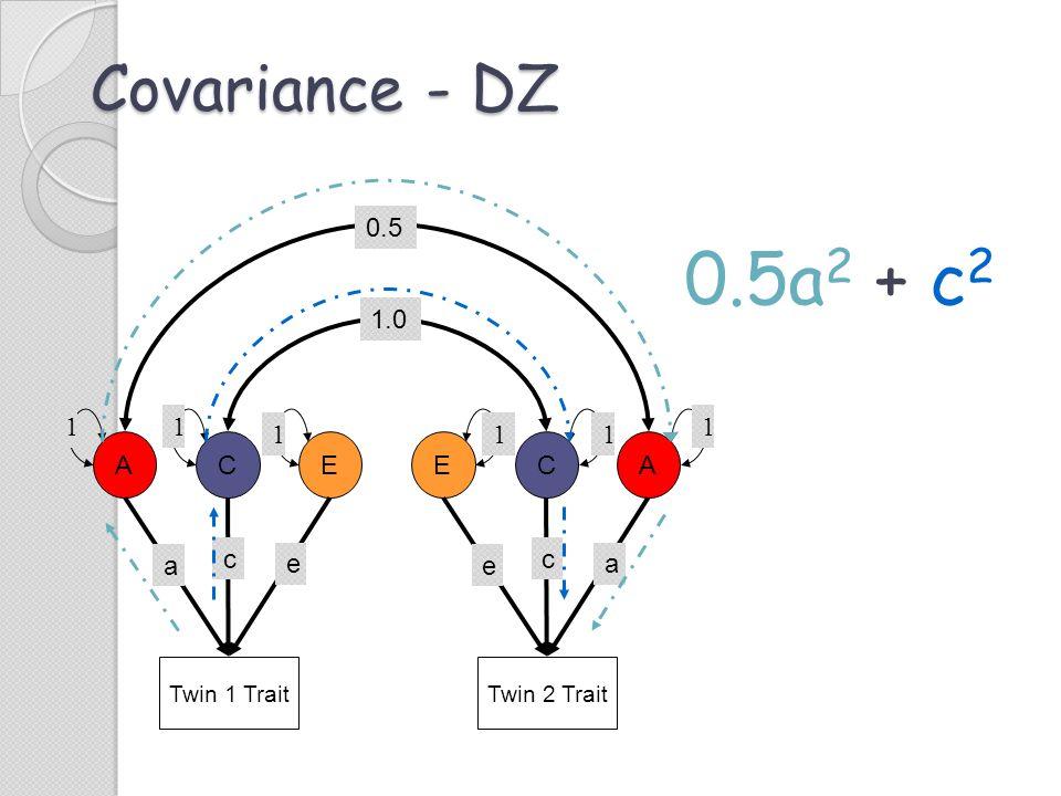 0.5a2 + c2 Covariance - DZ 0.5 1.0 1 1 1 1 1 1 A C E E C A c e c a e a