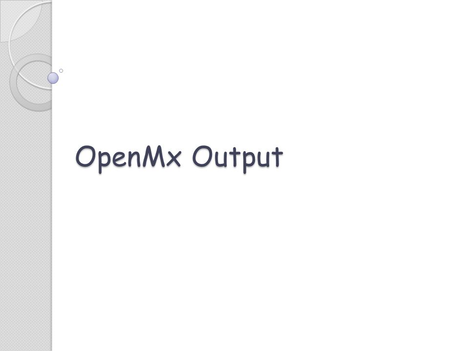 OpenMx Output