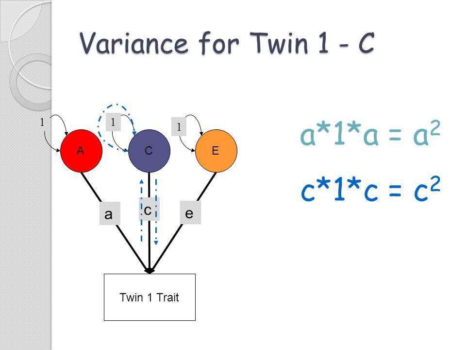 a*1*a = a2 c*1*c = c2 Variance for Twin 1 - C c a e 1 1 1 A C E