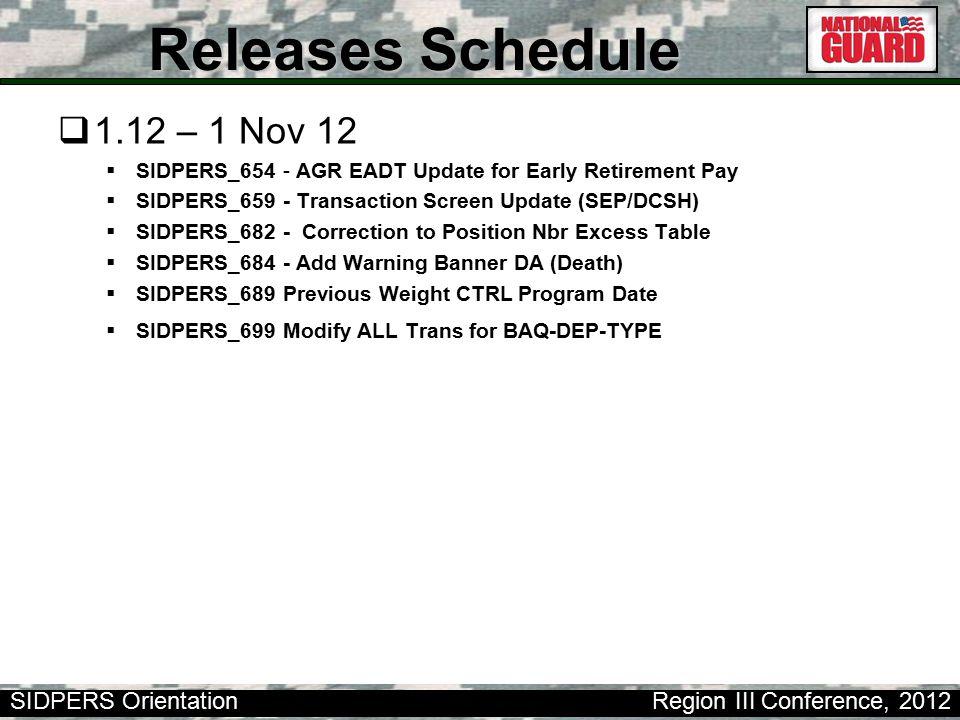 Releases Schedule 1.12 – 1 Nov 12