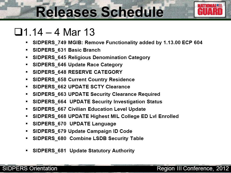 Releases Schedule 1.14 – 4 Mar 13