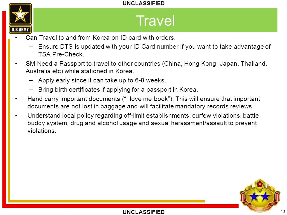 Travel Can Travel to and from Korea on ID card with orders.