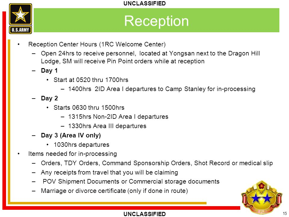 Reception Reception Center Hours (1RC Welcome Center)