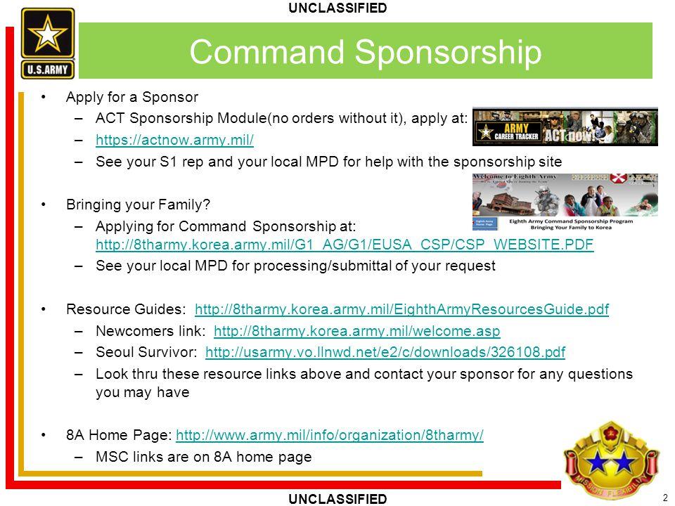 Command Sponsorship Apply for a Sponsor