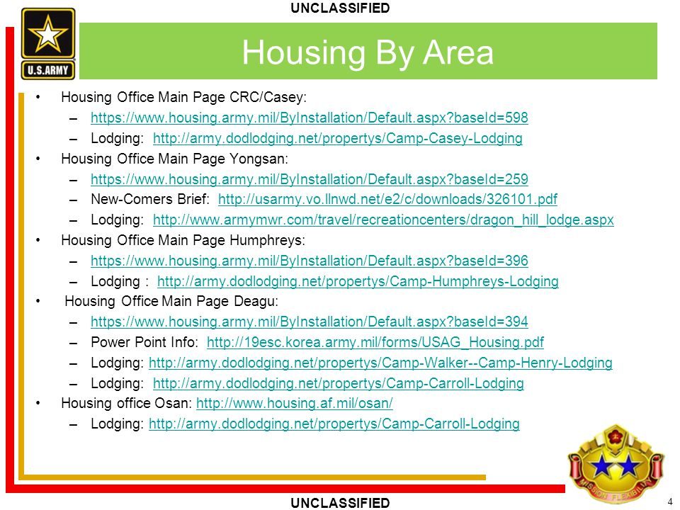 Housing By Area Housing Office Main Page CRC/Casey: