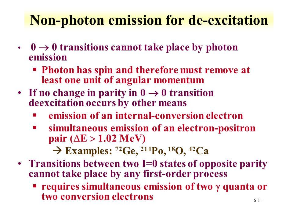 Non-photon emission for de-excitation