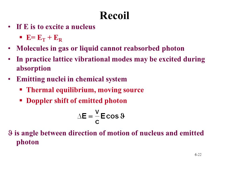 Recoil If E is to excite a nucleus E= ET + ER