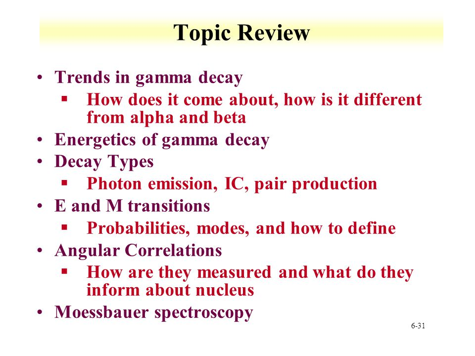 Topic Review Trends in gamma decay