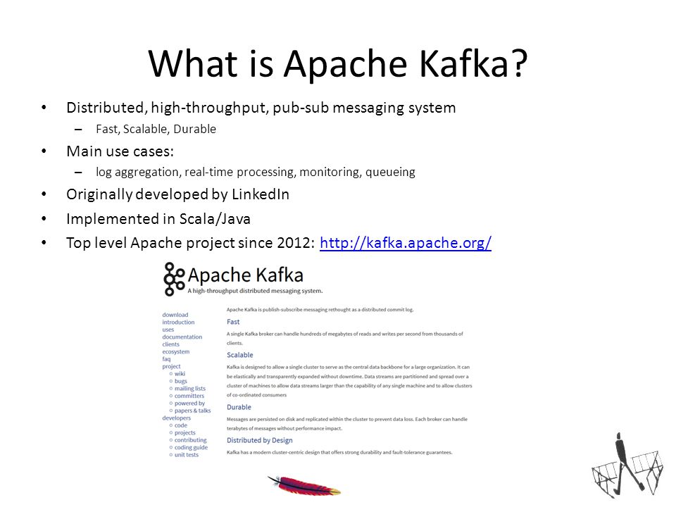 What is Apache Kafka Distributed, high-throughput, pub-sub messaging system. Fast, Scalable, Durable.