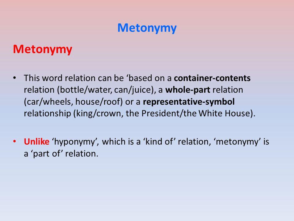 Metonymy Metonymy.
