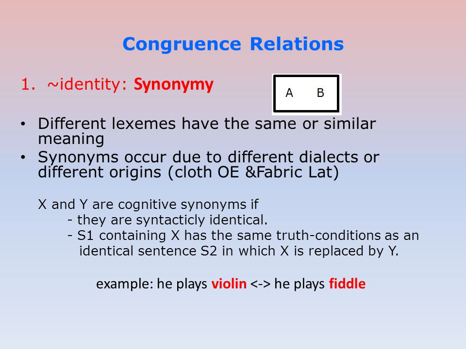 example: he plays violin <-> he plays fiddle