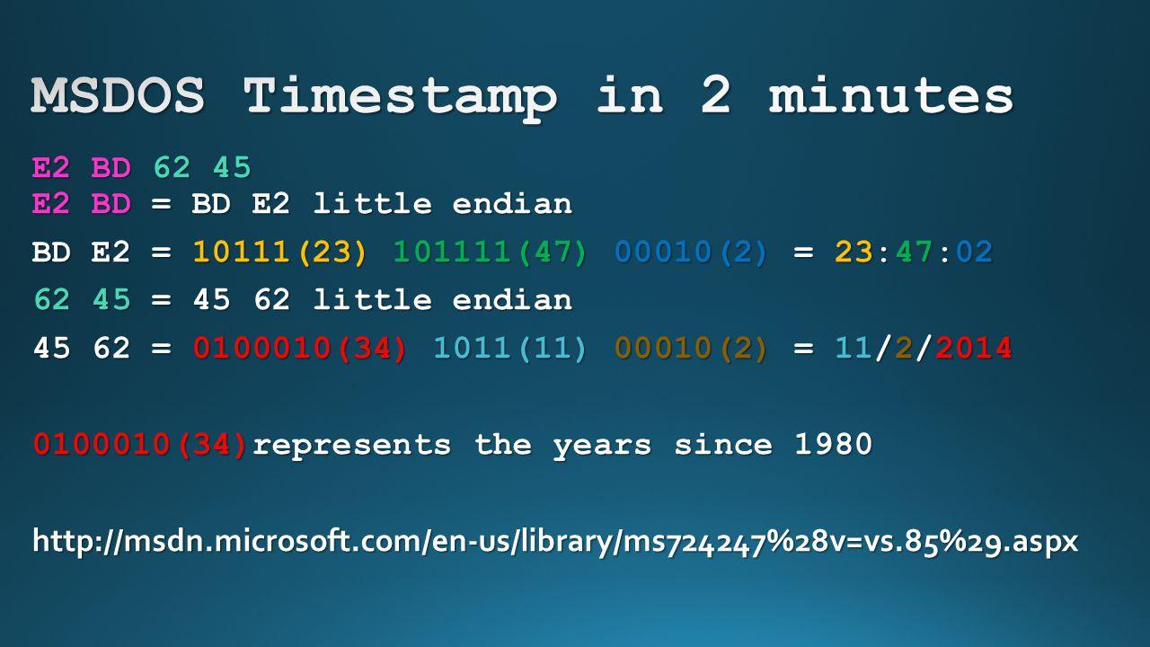 MSDOS Timestamp in 2 minutes