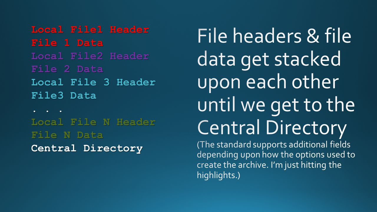 File headers & file data get stacked upon each other until we get to the Central Directory (The standard supports additional fields depending upon how the options used to create the archive. I'm just hitting the highlights.)