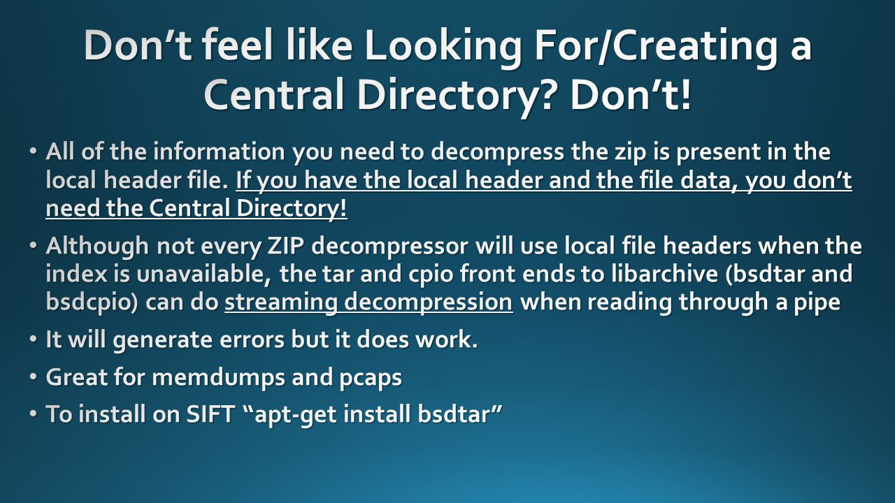 Don't feel like Looking For/Creating a Central Directory Don't!