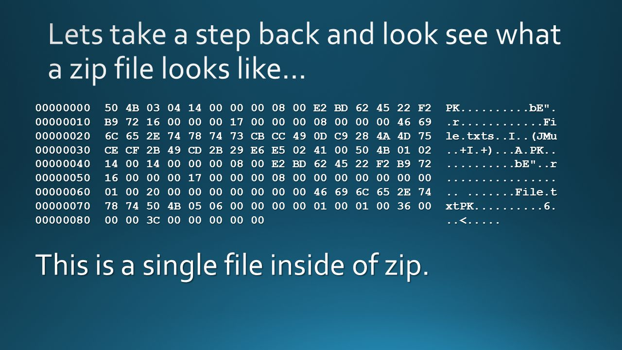 Lets take a step back and look see what a zip file looks like…