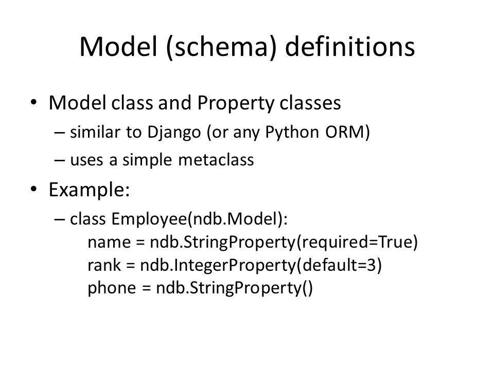 Model (schema) definitions