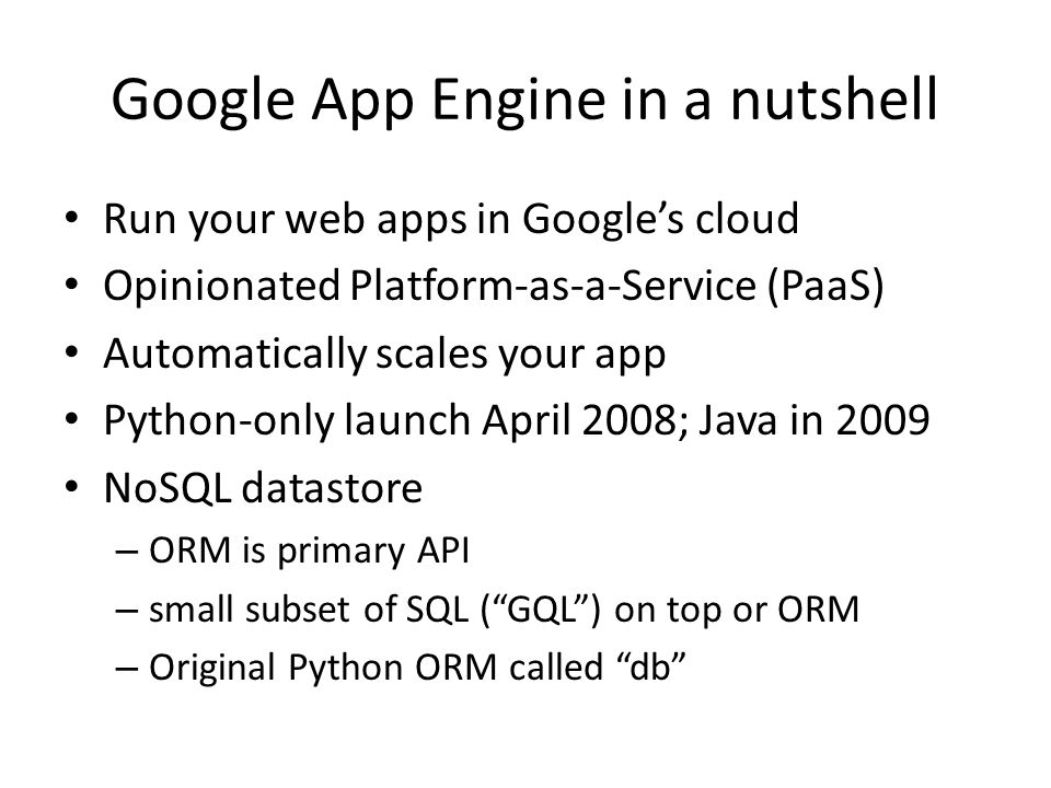 Google App Engine in a nutshell