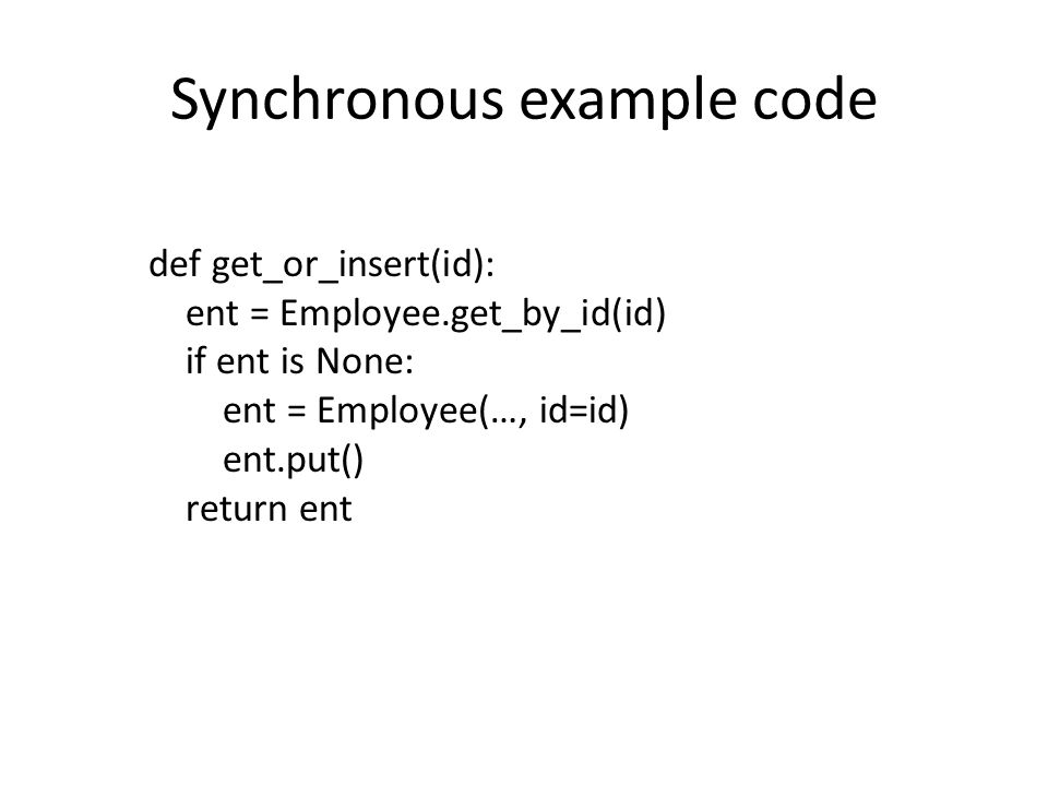 Synchronous example code