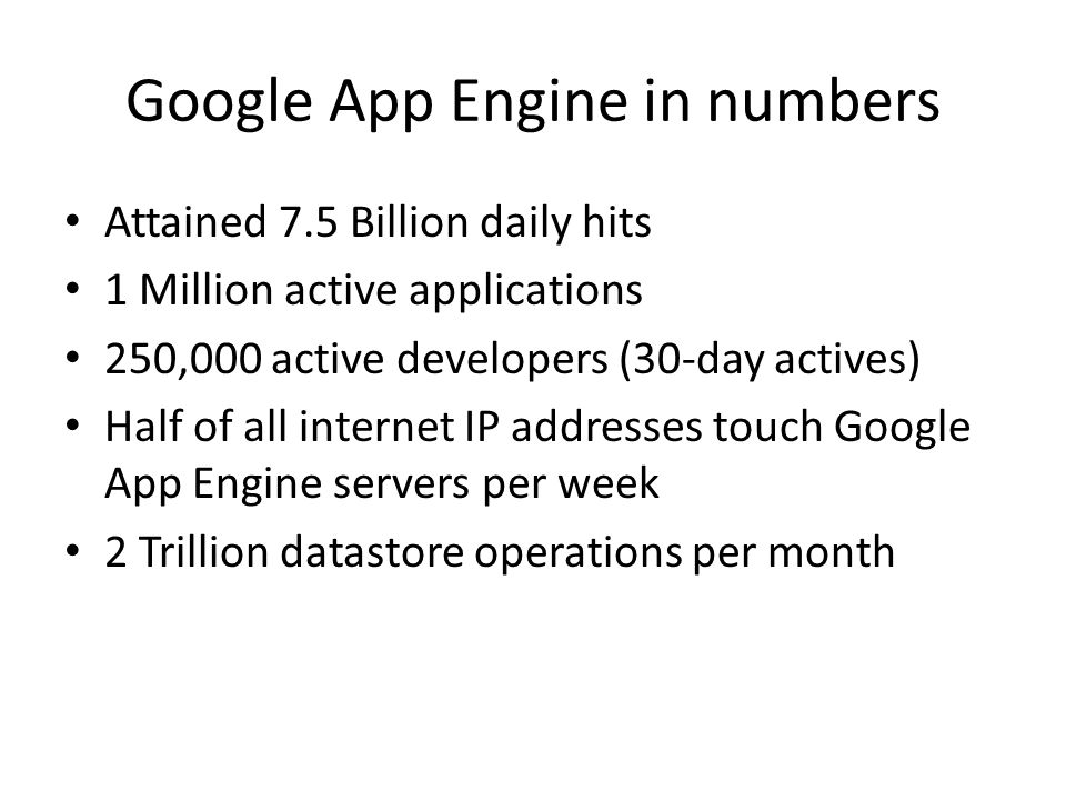 Google App Engine in numbers