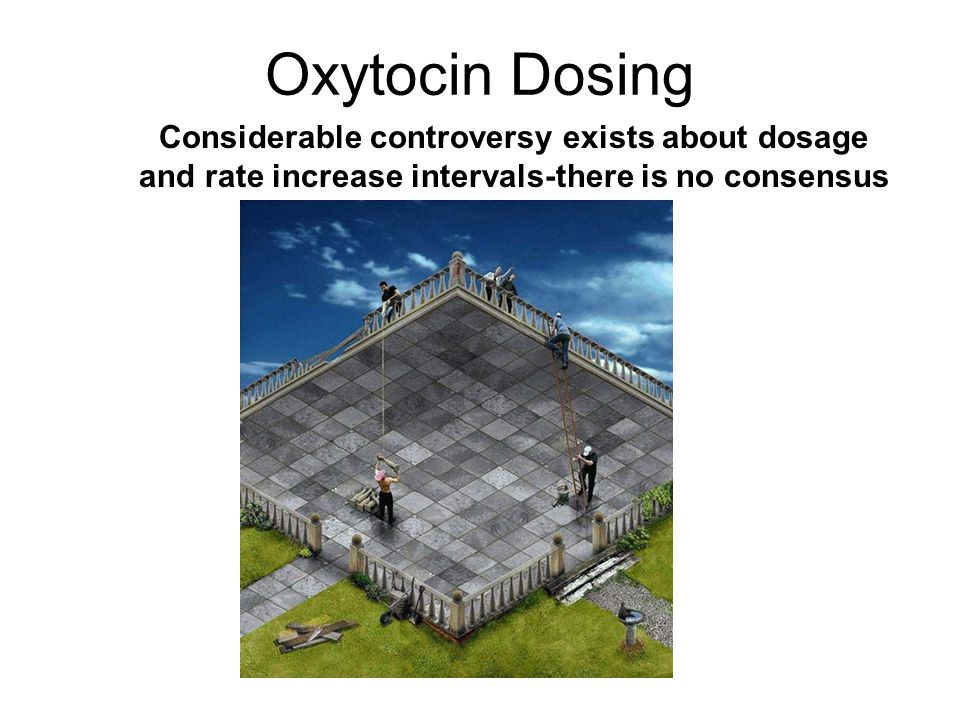 Oxytocin Dosing Considerable controversy exists about dosage and rate increase intervals-there is no consensus in the literature.