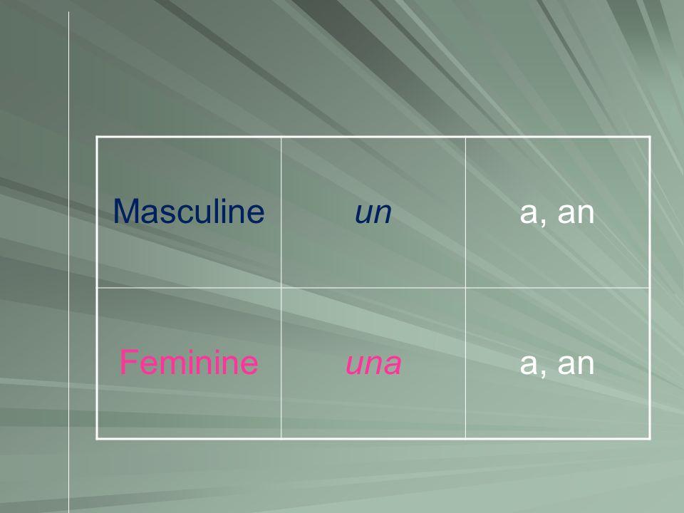 Masculine un a, an Feminine una