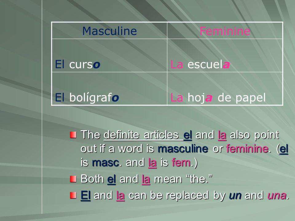 Masculine Feminine. El curso. La escuela. El bolígrafo. La hoja de papel.