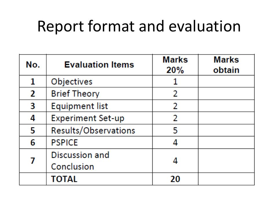 Report format and evaluation