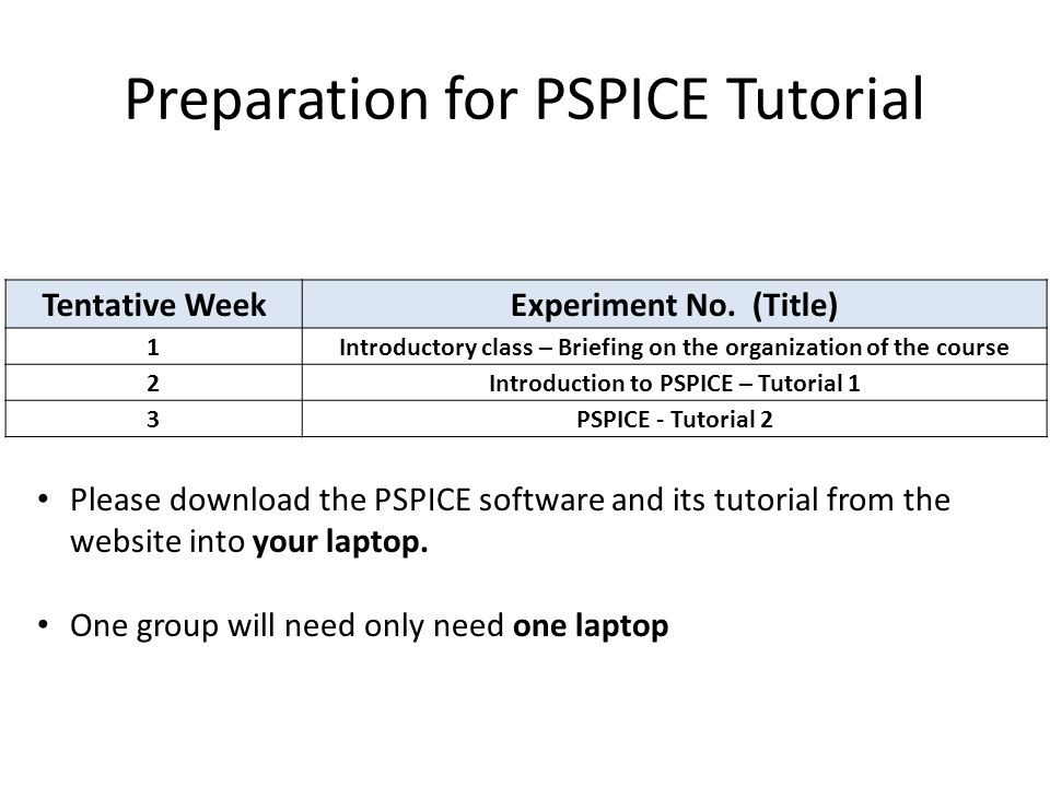 Preparation for PSPICE Tutorial