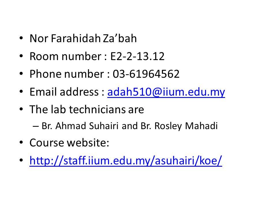Taaruf Nor Farahidah Za'bah Room number : E2-2-13.12