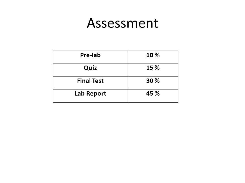 Assessment Pre-lab 10 % Quiz 15 % Final Test 30 % Lab Report 45 %